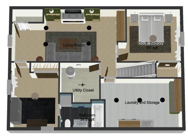 3D Floorplan for the basement remodel using Roomsketcher App   Sima Spaces