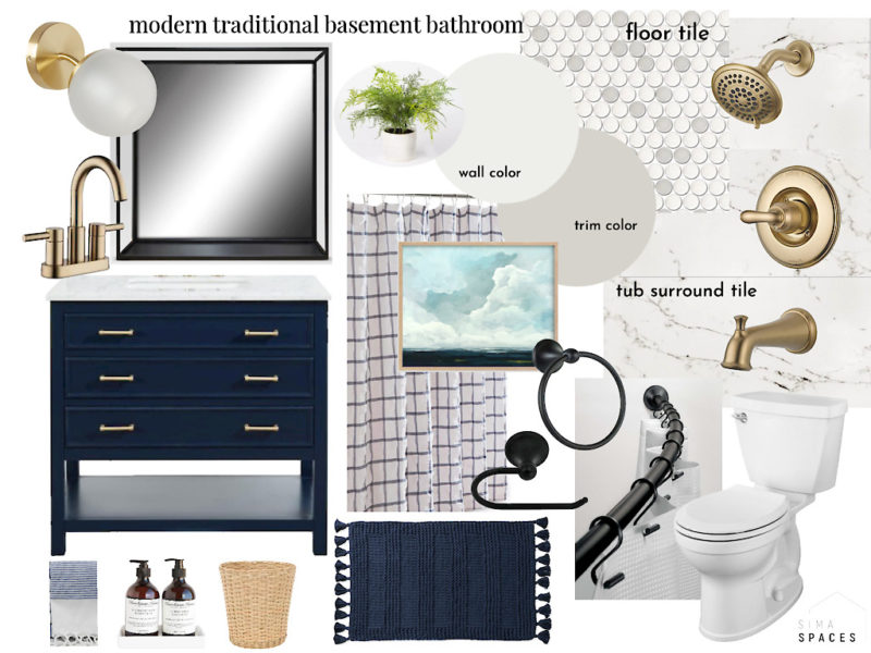 Basement bathroom moodboard and design, Sima Spaces Spring 2020 ORC