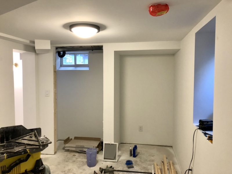 Sima Spaces One Room Challenge Spring 2020: The basement officially has lights, outlets, and switches!