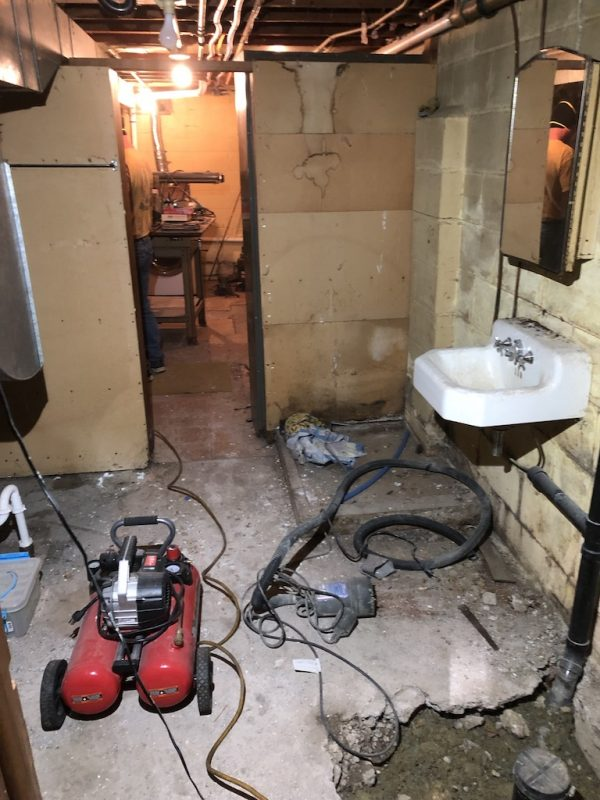 Basement bathroom BEFORE: Sima Spaces basement bathroom remodel